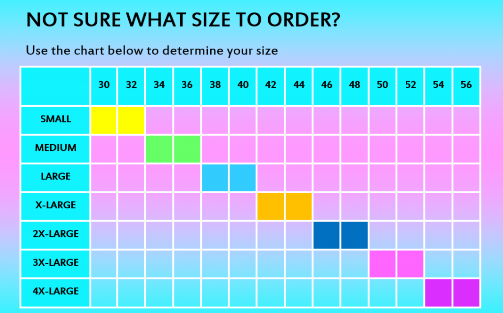 the size chart of a front-closure comfort bra for elderly