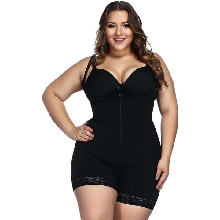 woman wearing a plus size shapewear bodysuit in black